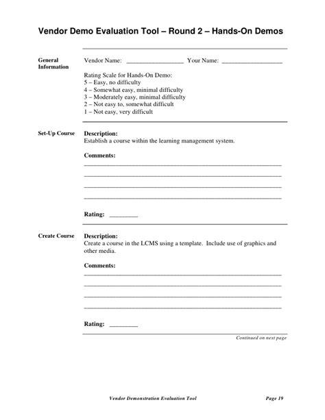 vendor contact information template lms selection templates