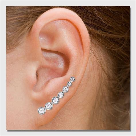 ear climber earrings sterling silver round cz ear climber earrings sste01065