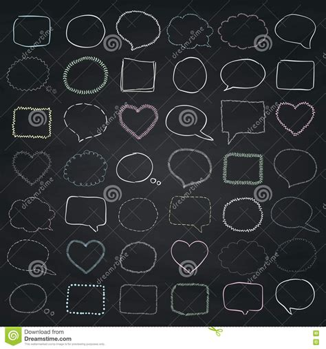 doodle bubbles vector free vector chalk drawing speech bubbles borders frames stock