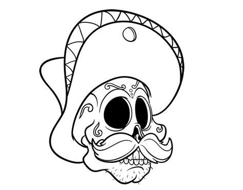 imagenes de calaveras que bailan dibujo de calavera mejicana con bigote para colorear