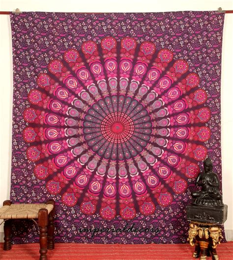 Psychedelic Home Decor Indian Tapestry Peacock Mandala Bedsheet Wall Hanging Hippie Bedspread Psychedelic Home Decor