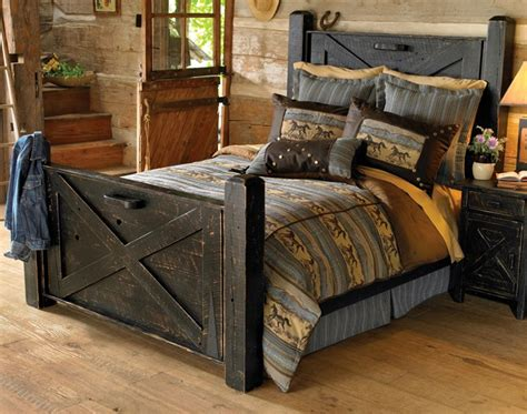 black distressed bedroom furniture rustic black distressed barn door bed queen reclaimed