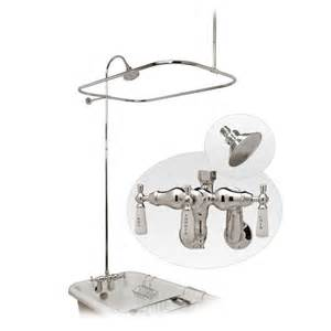 Clawfoot Tub Shower Enclosure With Faucet And Metal Shower Head