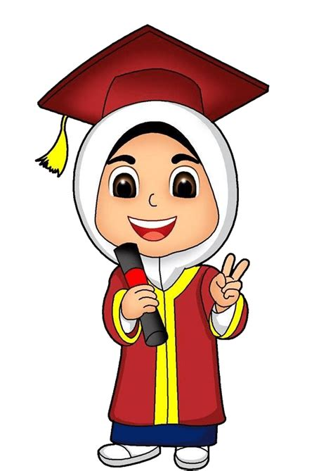 gambar toga wisuda kartun anak muslim png