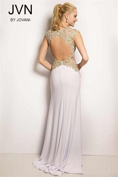 white open back lined jersey prom dress