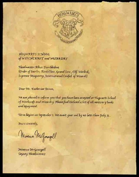 5 harry potter letter 1