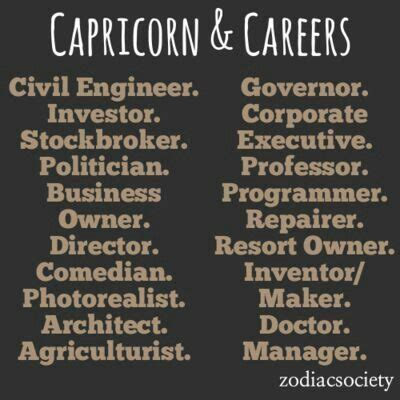 careers capricorn ha ha ha p with a dash of