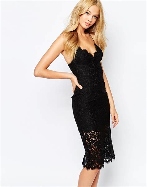 lyst bardot lace dress with spaghetti straps in black