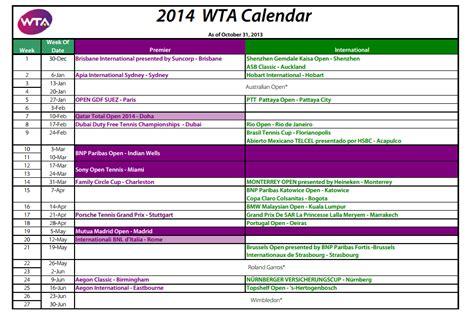 Calendario Wta Calendario Wta 2014
