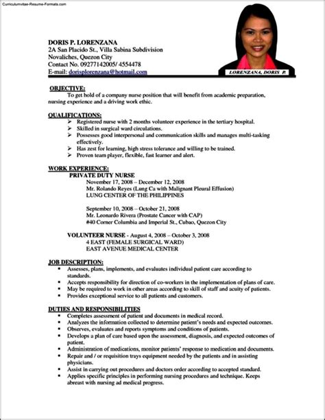 Resume Templates For Nursing by Resume Template For Nursing Free Sles Exles