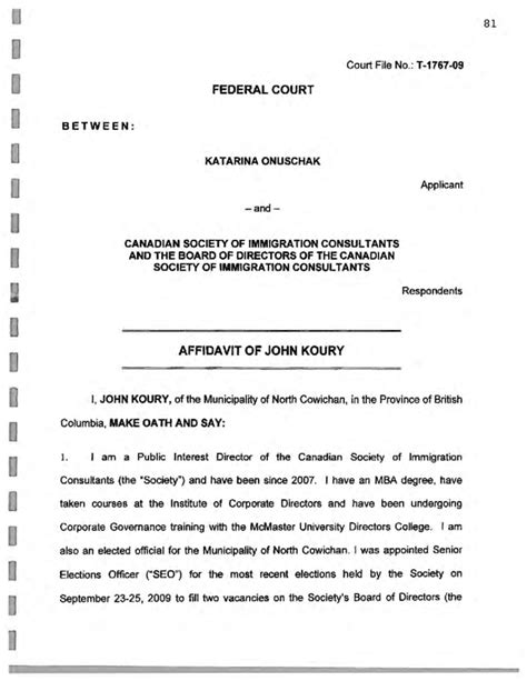 Federal Court Affidavit Form Canada Free Download Affidavit Template For Family Court