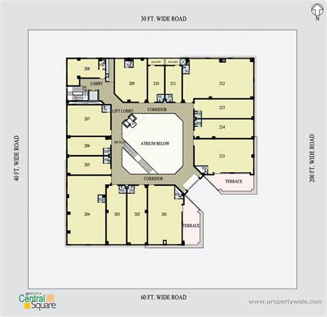 floor plan of an office bestech central square sector 57 gurgaon shop project