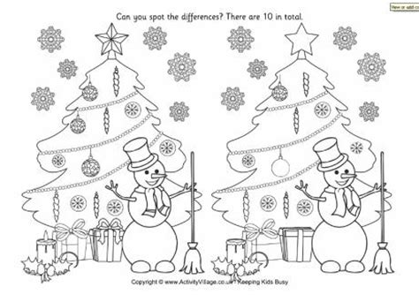 printable christmas spot the difference games find the differences christmas tree