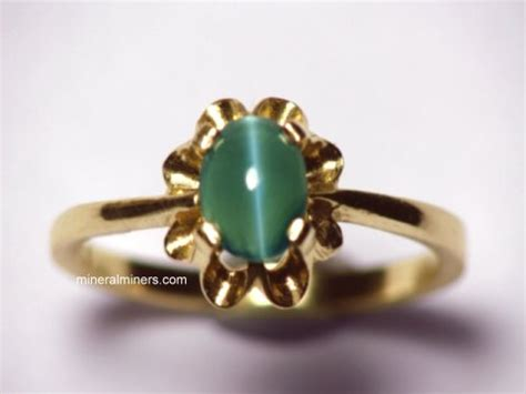 435ct Gem Oval Cabochon Honey Green Cats Eye Apatite Unheat cocktail rings gemstone cocktail rings