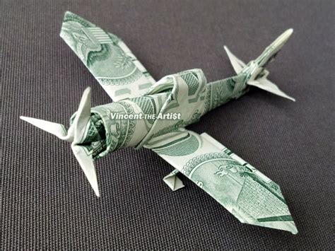 Dollar Bill Origami Airplane - zero fighter plane money origami by vincent the artist