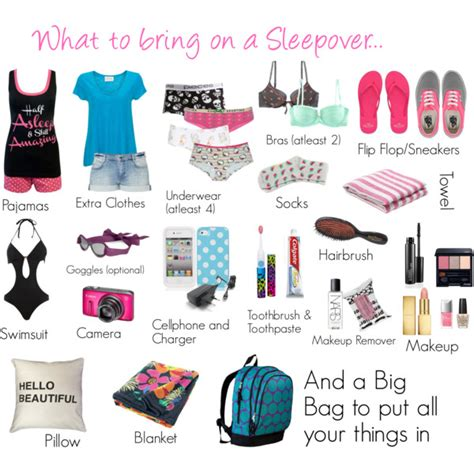what to bring on a sleepover polyvore