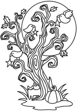 scary tree coloring page coloring page world spooky tree portrait