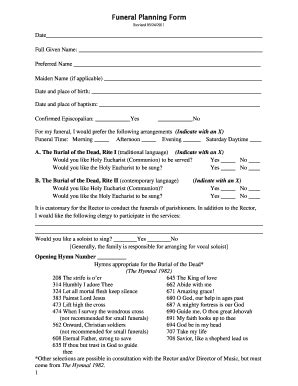 Funeral Template Forms Fillable Printable Sles For Pdf Word Pdffiller Funeral Wishes Document Template