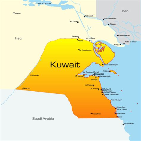 middle east map showing kuwait kuwait map showing attractions accommodation