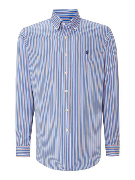 Novita Blue Multi Stripe Shirt Kemeja Blouse polo ralph sleeve custom fit multi stripe shirt in blue for lyst