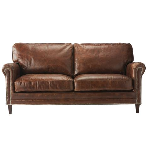2 Seater Leather Sofa In Brown Sinatra Maisons Du Monde 2 Seater Leather Sofa