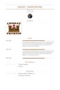 Combat Engineer Resume by Combat Engineer Resume Sles Visualcv Resume Sles Database
