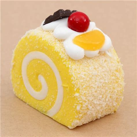 Squishy Roll Cake yellow roll cake with magnet squishy kawaii food
