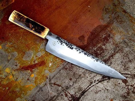custom made kitchen knives custom chef knife with mammoth tusk by big rock forge