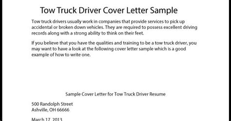 Class B Truck Driver Cover Letter by Great Sle Resume Tow Truck Driver Cover Letter Sle