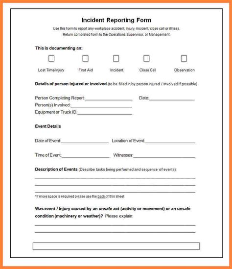 Weekly Incident Report Template