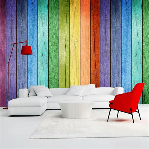 home interior wall decor rainbow colored wood board wallpaper modern art interior