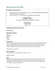 Letter Of Consent For Research Exle Dissertation Consent Form