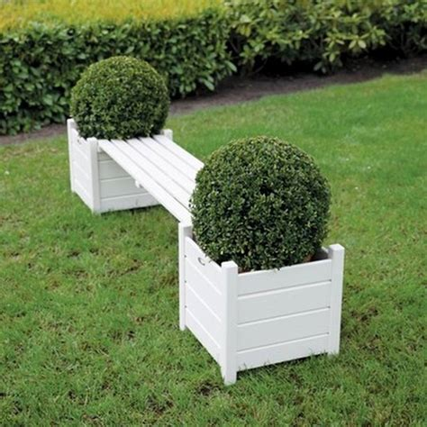 garden planter bench garden bench with planters cream by garden selections
