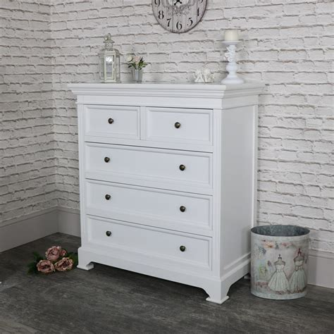 white chest of white five drawer chest of drawers daventry white range
