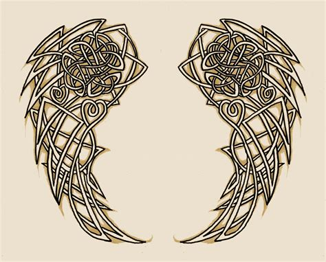 celtic cross with angel wings tattoo celtic wings design
