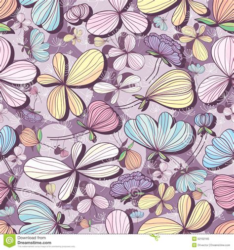 color pattern drawing flower pastel purple seamless pattern stock vector image