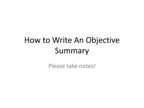 how do i write an objective for a resume ppt how to write an objective summary powerpoint