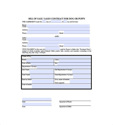 puppy receipt template bill of sale 8 free sle exle format