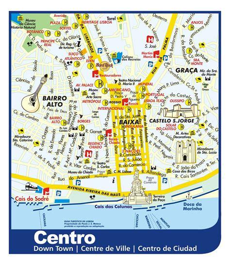 printable map lisbon lisbon downtown tourist map lisbon portugal mappery