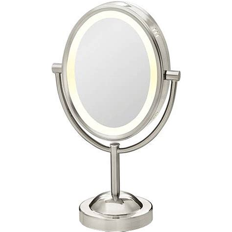 Lighted Makeup Mirror Walmart by Conair True Glow Satin Nickel Oval Lighted Mirror