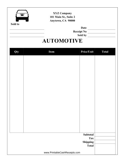 car parts receipt template this automotive receipt is designed to be used by a garage