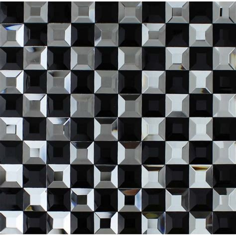 black and white mosaic bathroom floor tiles pyramid 3d glass patterns kitchen bar table