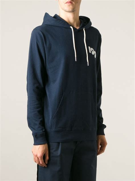 Hoodie Anonymous Back Print Cloth lyst soulland back print hoodie in blue for