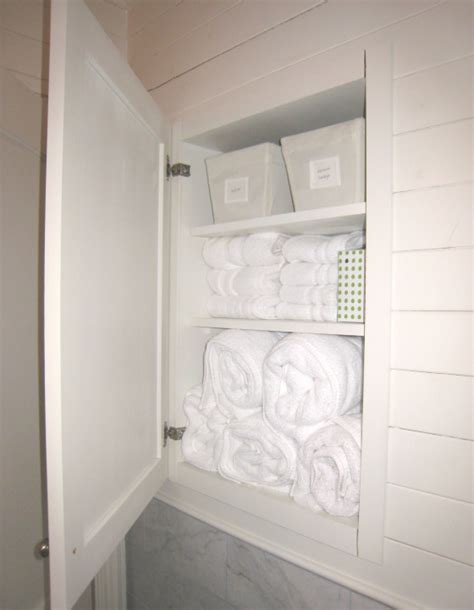 Recessed Bathroom Storage Cabinet Linen Cabinet Ideas Cottage Bathroom Tracery Interiors