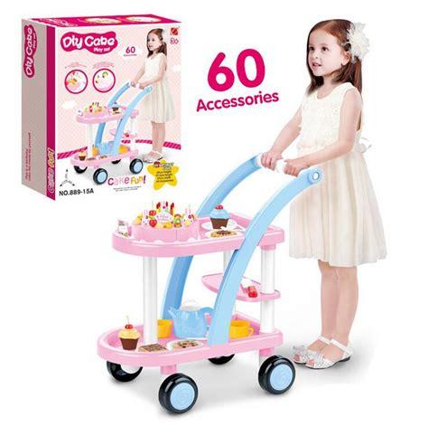 Diy Birthday Cake Trolley new 60 pcs cake trolley diy kitchen toys pink yellow pretend play birthday box educational