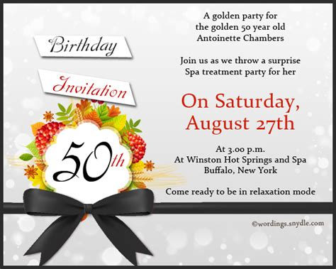 21st birthday invitation wording sles 50th birthday invitation wording sles wordings and messages