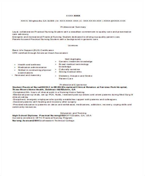 practical nursing resume exles 8 sle student resumes sle templates