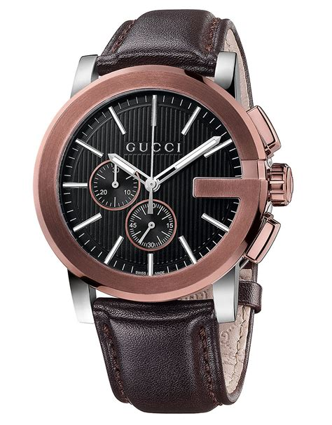 Gucci G0119 Browb Rosegold gucci mens g chronograph gold tone and leather in brown for lyst