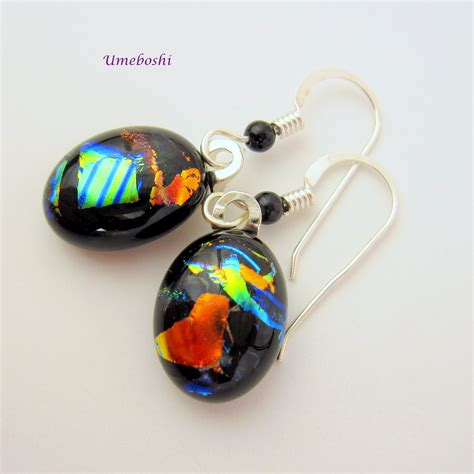 Handmade Fused Glass - handmade dichroic fused glass colorful dangle earrings