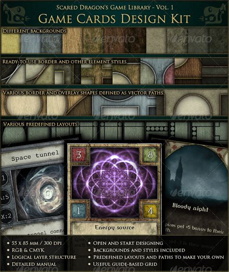 rpg item card template cards design kit by scareddragon graphicriver